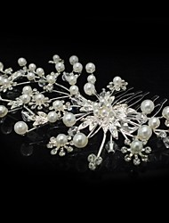 cheap -Crystal Cubic Zirconia Fabric Alloy Tiaras Hair Combs Flowers 1 Wedding Party / Evening Headpiece