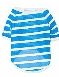 economico -Gatto Cane T-shirt Abbigliamento per cani Strisce Grigio Rosso Blu Cotone Costume Per animali domestici