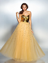 A-Line Sweetheart Floor Length Tulle Sequined Prom Formal Evening Dress with Sequins by TS Couture®