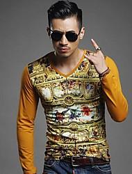 Уго мужской v шеи печати с длинным рукавом тонкий футболку