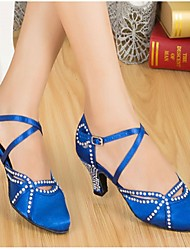 cheap -Women's Modern Ballroom Satin Heel Rhinestone Buckle Customized Heel Black Blue Customizable