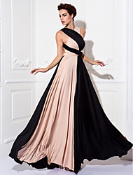 Sheath / Column V-neck Floor Length Knit Prom Formal Evening Military Ball Dress with Sash / Ribbon Pleats by TS Couture®