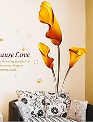 baratos -Romance Botânico Adesivos de Parede Autocolantes de Aviões para Parede Autocolantes de Parede Decorativos, Vinil Decoração para casa