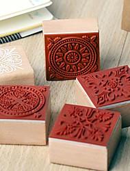 4cm x 4cm Vintage Square Romantic Floral Flower Pattern Wooden Stamp(Random Pattern
