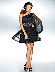 cheap -A-Line Princess One Shoulder Short / Mini Lace Cocktail Party Homecoming Holiday Dress with Beading by TS Couture®