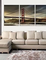 Недорогие -Натянутым холстом печати Искусство Архитектура Golden Gate Bridge Набор из 3
