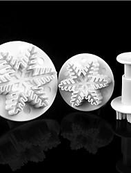 3pcs Christmas Snowflake Springs Stamper Fondant Cake Tools