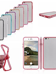 PC + TPU 2 in 1 Combo Bumper Frame Case with Metal Buttons for iPhone 6 Plus (Assorted Colors)