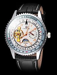 abordables -FORSINING Homme Montre Bracelet / Montre mécanique Cuir Bande Luxe Noir / Remontage automatique