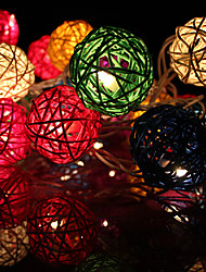 baratos -20led luzes de corda de rattan decorativas de 2.5m (ac220v), cor aleatória