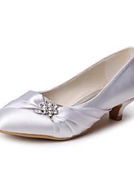 cheap -Women's Shoes Satin Spring / Summer / Fall Kitten Heel Rhinestone Gold / Yellow / Purple / Wedding