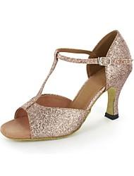 cheap -Women's Latin Shoes Sparkling Glitter Sandal Stiletto Heel Non Customizable Dance Shoes Gold