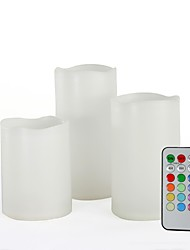 Set of 3 Remote Controlled Multi-color Plastic LED Candles (Color Changing Flameless Candles)