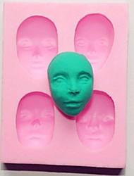 quattro fori volto umano strumenti di decorazione della torta del fondente della torta del silicone della muffa, l7cm * w5.5cm * h1.7cm