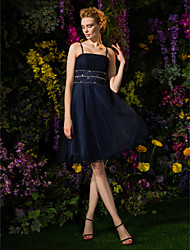 A-Line Spaghetti Straps Knee Length Tulle Cocktail Party Homecoming Dress with Beading Crystal Detailing Draping Ruching by TS Couture®
