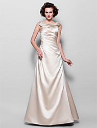 A-Line Jewel Neck Floor Length Satin Mother of the Bride Dress with Beading Appliques Side Draping by LAN TING BRIDE®