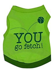 cheap -Cat Dog Shirt / T-Shirt Dog Clothes Letter & Number Green Cotton Costume For Pets