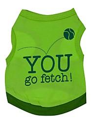 baratos -Gato Cachorro Camiseta Roupas para Cães Carta e Número Verde Algodão Ocasiões Especiais Para animais de estimação