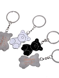 cheap -Personalized Gift Bear Metal Engraving Couple Keychain