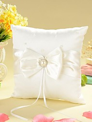 cheap -Ring Pillow In Ivory Satin With Bow And Faux Pearl Wedding Ceremony