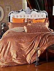 Duvet Cover Sets Leaf 4 Piece Faux Silk Jacquard Faux Silk 4pcs (1 Duvet Cover, 1 Flat Sheet, 2 Shams)