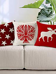 conjunto de três de algodão vermelho e branco / linho fronha decorativo