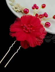 cheap -Gemstone & Crystal Pearl Alloy Headpiece Hair Pin with Crystal 1 Wedding Special Occasion Party / Evening Headpiece
