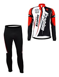 Kooplus Cycling Jersey with Tights Men's Women's Unisex Long Sleeves Bike Jersey Clothing Suits Thermal / Warm Waterproof Zipper Wearable