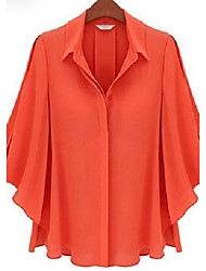 economico -Women's Shirt Collar Solid Color Trumpet Sleeve Blouse