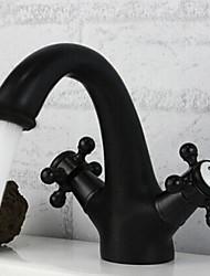 Недорогие -традиционный центральный керамический клапан с двумя ручками на одно отверстие с масляной бронзой для раковины ванной комнаты кран для ванны