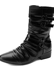 baratos -Homens sapatos Courino Primavera Outono Conforto Botas 25.4-30.48cm Botas Cano Médio Preto