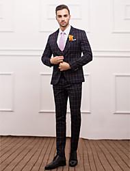 economico -Dark Navy&Orange Polyester Slim Fit Three-Piece Suit