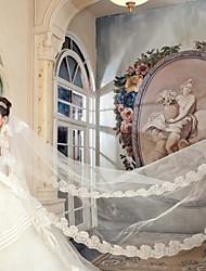 baratos -Uma Camada Borda com aplicação de Renda Véus de Noiva Véu Catedral Com 157,48 em (400 centímetros) Cetim Tule
