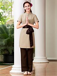 economico -uniformi spa vestito collo alla coreana spa manica corta delle donne
