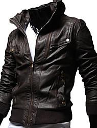 Недорогие -Дана мужской стенд воротник тонкий Место кожаное пальто