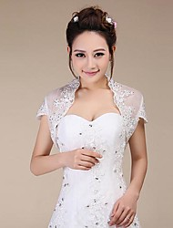Wedding  Wraps Shrugs Short Sleeve Lace Ivory Wedding / Party/Evening Sequin Open Front