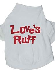 baratos -Gato Cachorro Camiseta Roupas para Cães Carta e Número Branco Algodão Ocasiões Especiais Para animais de estimação