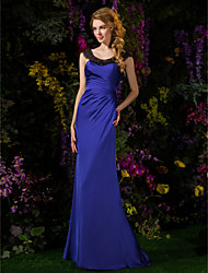 Sheath / Column Scoop Neck Sweep / Brush Train Satin Chiffon Bridesmaid Dress with Beading Side Draping by LAN TING BRIDE®