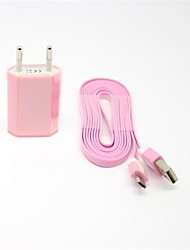 Colorful EU AC Wall Charger with 2M Flat Noodle Micro USB Charge Cable for Samsung S4/S3/S2 and Others(Assorted Colors)