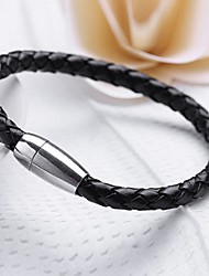 Personalized Gift Leather  Stainless Steel Jewelry  Engraved Bracelet