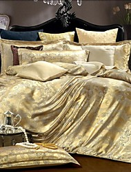 cheap -Duvet Cover Sets Silk/Cotton Blend Jacquard Silk/Cotton Blend 4pcs (1 Duvet Cover, 1 Flat Sheet, 2 Shams)