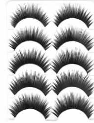 cheap -New 5 Pairs Natural Black Curled Long Thick False Eyelashes Soft Eyelash Eye Lashes for Eye Extensions