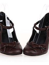 Lolita Shoes Gothic Lolita Lolita High Heel Shoes Bowknot 6.5 CM Black White Brown For PU Leather/Polyurethane Leather