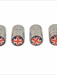 para montagem padrão bandeira pneus universal tampas britânicos da válvula de ar - prata (4peças)
