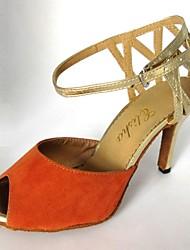 Недорогие -Латинской настраиваемый женские сандалии настраиваемые каблук замша танцевальной обуви больше цветов