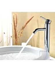 abordables -contemporáneo cromo acabado de latón solo agujero sola manija grifo de lavabo del baño
