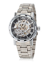 cheap -WINNER® Men's Elegant Skeleton Hollow Dial Silver Steel Band Mechanical Hand Wind Wrist Watch (Assorted Colors) Cool Watch Unique Watch
