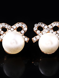 Women's Alloy Stud Earrings With Imitation Pearl and Rhinestone