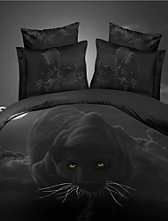 cheap -Duvet Cover Sets 3D 4 Piece Polyester Reactive Print Polyester 4pcs (1 Duvet Cover, 1 Flat Sheet, 2 Shams)