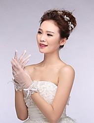 Elfenbein Tüll Fingerspitzen Handgelenk Länge Hochzeit Handschuhe mit Spitze mit glänzenden Kristall asg14